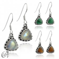 925 Silver earrings and stones Thira model