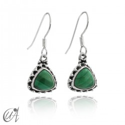 925 Silver earrings and malachite Thira model