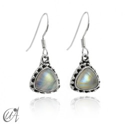 925 Silver earrings and moonstone Thira model