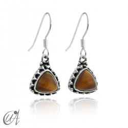 925 Silver earrings and tiger eye Thira model