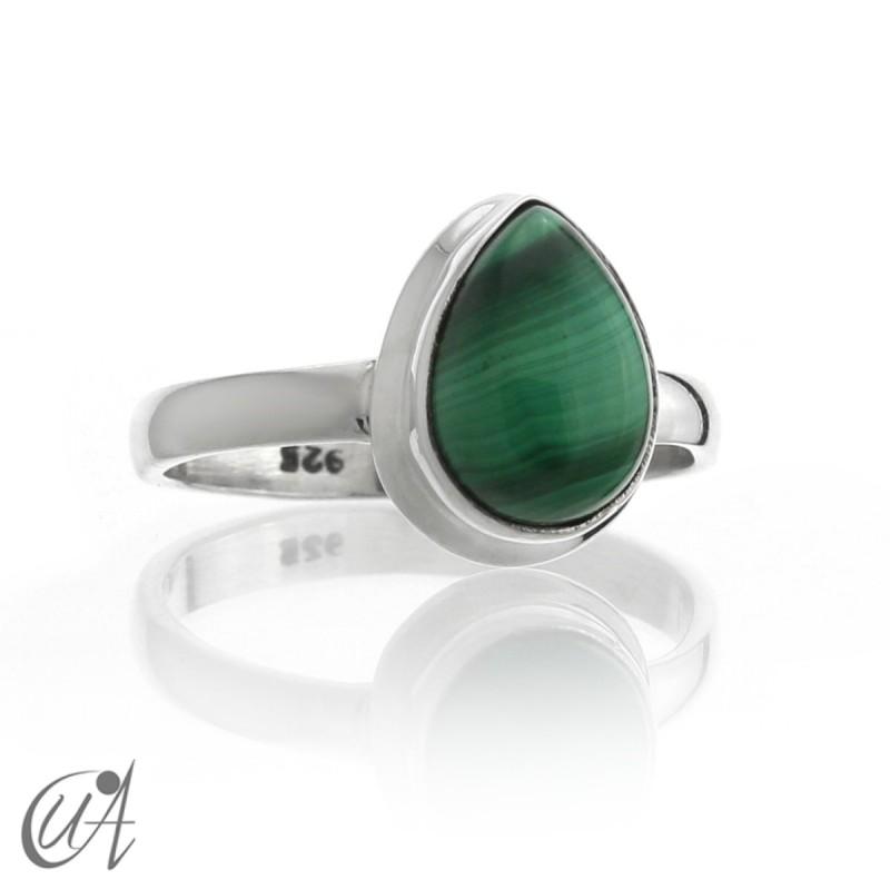 Malachite in sterling silver - tear ring
