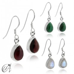 Stones with 925 silver - teardrop earrings