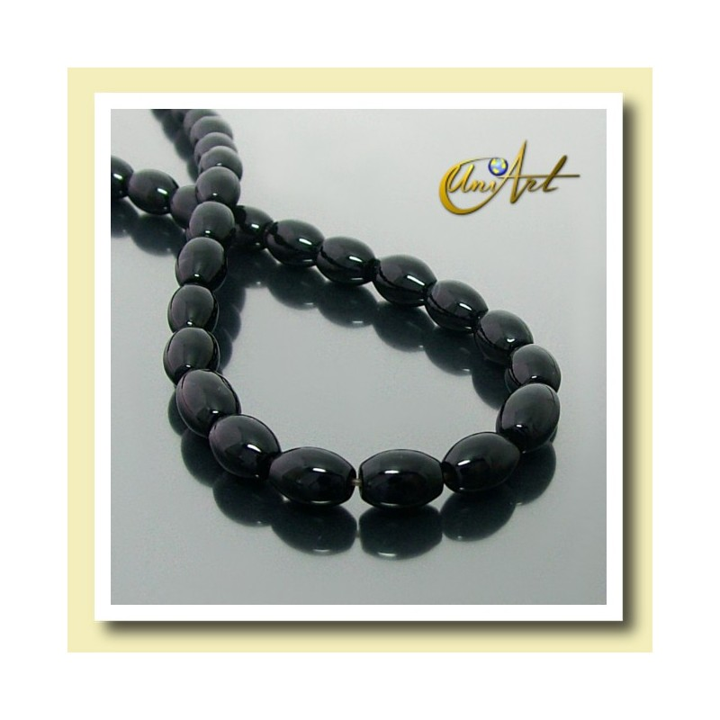 Black Agate Beads in olive shape