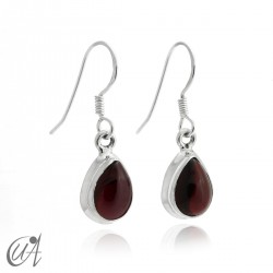 Garnet with 925 silver - teardrop earrings