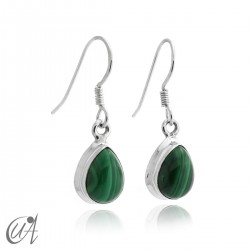 Malachite with 925 silver - teardrop earrings