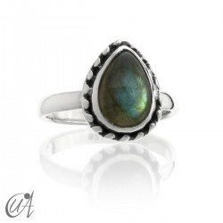 Drop sterling silver ring with labradorite