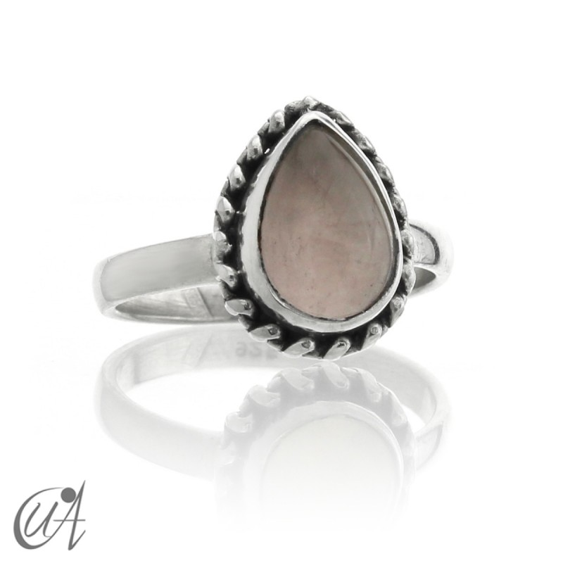 Sterling silver and rose quartz drop ring