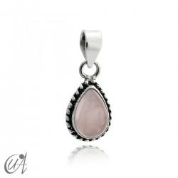 Colgante gota con plata de 1ª ley y cuarzo rosa