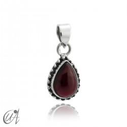 Teardrop 925 silver pendant and garnet