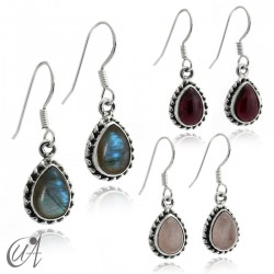 Teardrop 925 silver earrings with natural stones