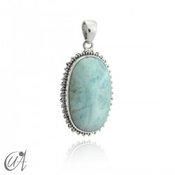 Big oval larimar pendant in sterling silver - model 2