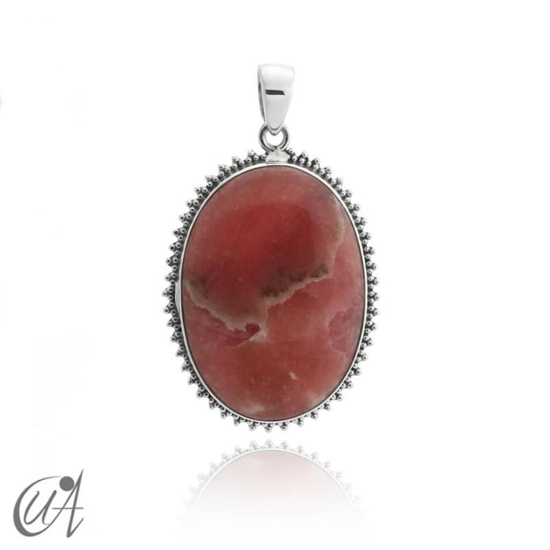 Rhodochrosite oval pendant - 925 silver - model 1