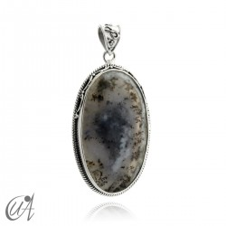 Dendritic opal pendant in sterling silver