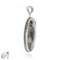 Dendritic opal pendant in sterling silver, model 5