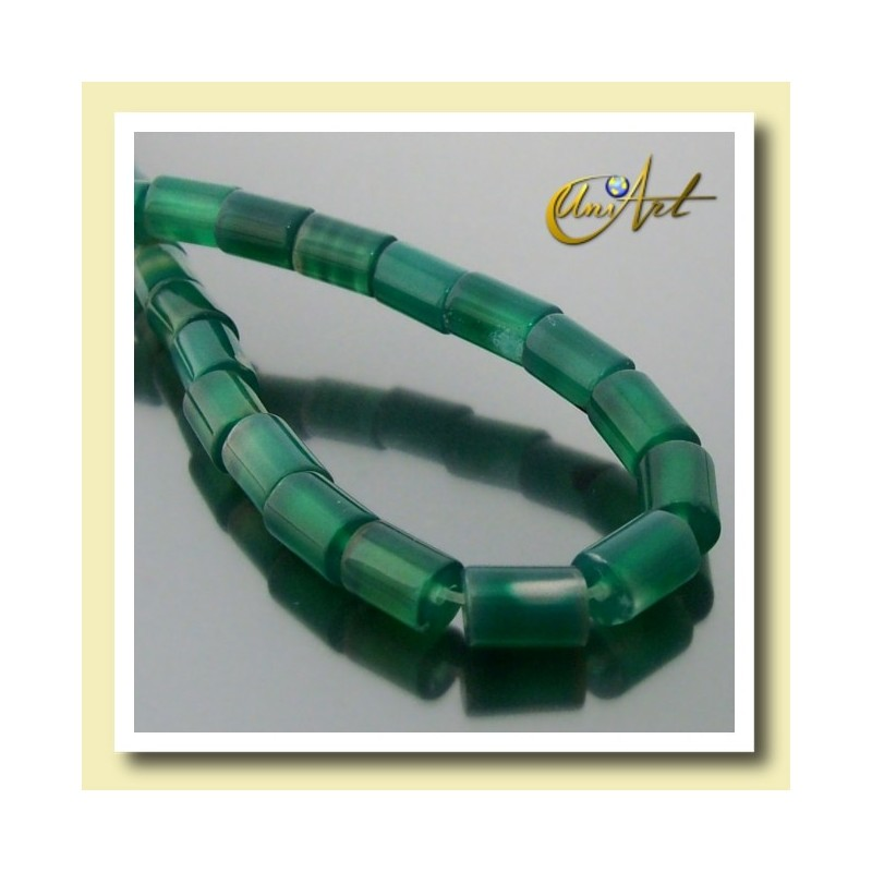 Green Agate beads in cylinder shape 8,5 mm