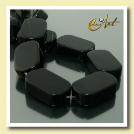 Black Agate Beads in plane oval shape 20 mm