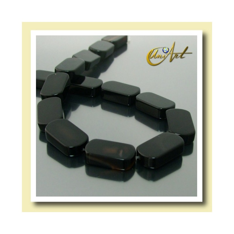 Black Agate Beads in plane oval shape 18 mm