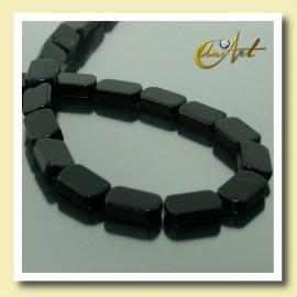 Hilo de Ágata Negra talla ovalado plano 10 mm