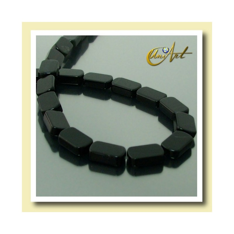 Black Agate Beads in plane oval shape 10 mm