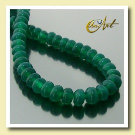 Green Agate beads in lentil shape 6,5 x 4 mm