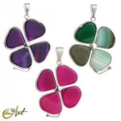 Agate clover pendant  (silvery)