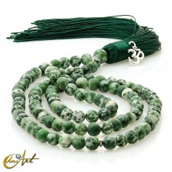 Tibetan buddhist mala 6 mm beads of spot green jasper