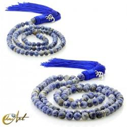 Spot blue jasper tibetan buddhist japa mala round beads