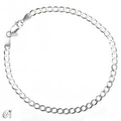 3mm diamond curb bracetet chain in sterling silver
