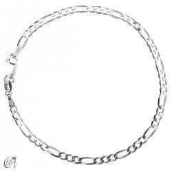 Cadena pulsera figaro diamantada en plata 925 - 3mm