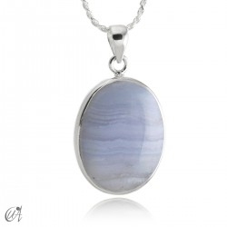 Oval chalcedony and sterling silver pendant model 3