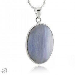 Oval chalcedony and sterling silver pendant model 2