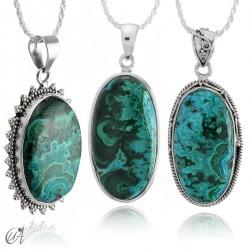 Blue malachite pendant in oval silver