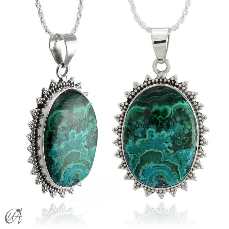 Blue malachite pendant in oval silver - model 1
