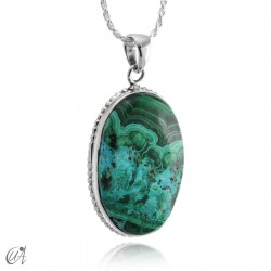 Blue malachite pendant in oval silver - model 2