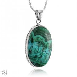 Blue malachite pendant in oval silver - model 2