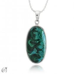 Blue malachite pendant in oval silver - model 3