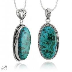 Blue malachite pendant in oval silver - model 4