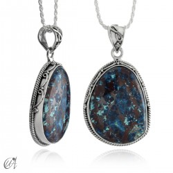 Azurite and cuprite pendant in sterling silver - model 2