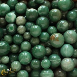 Green quartz spheres