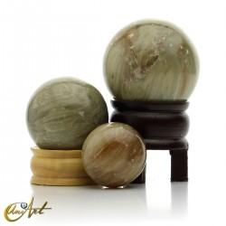 Calcita gris, esferas