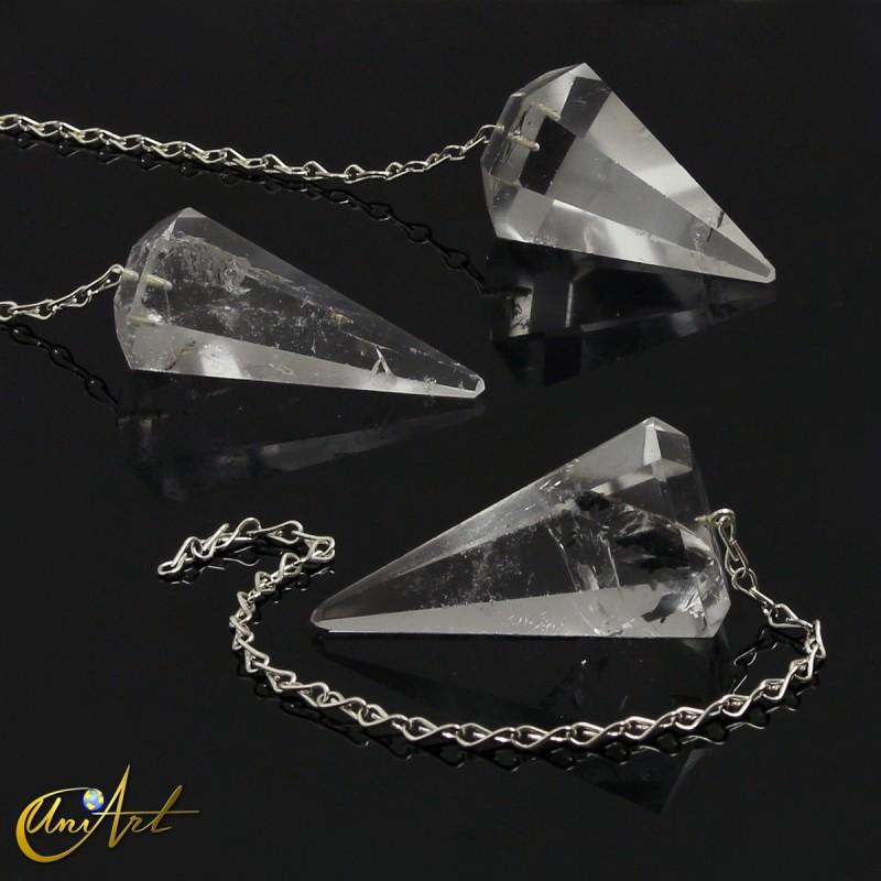 Péndulo para Reiki y Radiestesia de cuarzo cristal