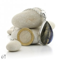 Colgante gota de plata de ley y labradorita - modelo 3