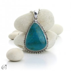 Triangular chrysocolla pendant in sterling silver