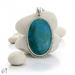 Chrysocolla pendant in sterling silver, oval