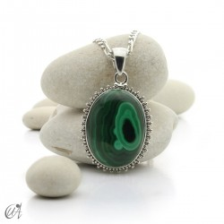 Gothic malachite and sterling silver pendants - model 2