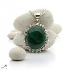 Gothic malachite and sterling silver pendants - model 3