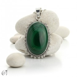 Large Malachite Pendants in Sterling Silver - model 1