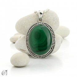 Large Malachite Pendants in Sterling Silver - model 2