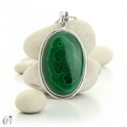 Large Malachite Pendants in Sterling Silver - model 3