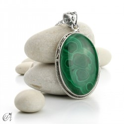 Large Malachite Pendants in Sterling Silver - model 5